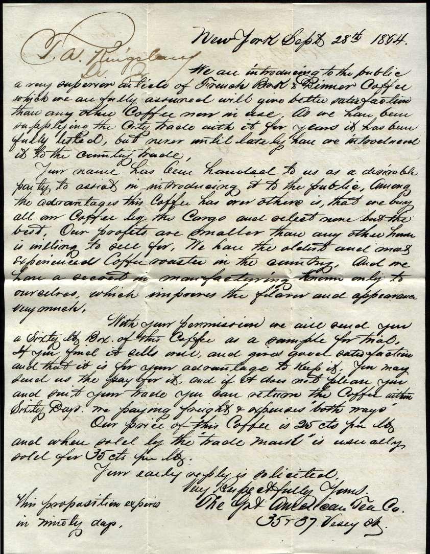 Alphabetilately Text of letter advertising coffee – Handwritten Cover Letter