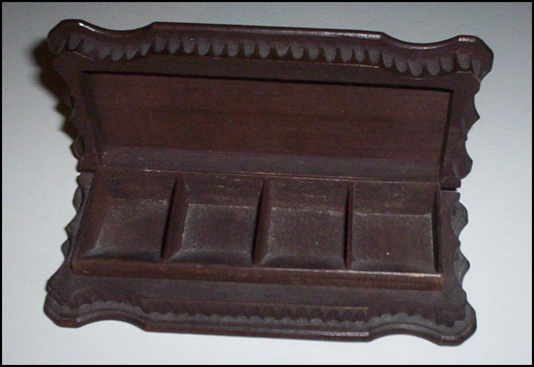 Carved Wooden Stamp Box