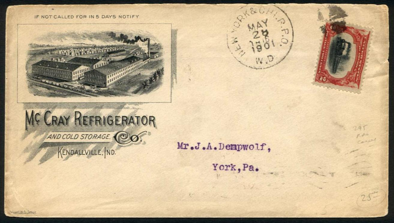 Sc. 295 on Advertising Cover & Trains on US Stamps